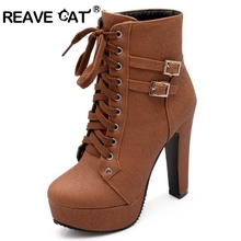 REAVE CAT 2017 Autumn Winter Women Ankle Boots high heels lace up leather double buckle platform short booties new black PA218(China)