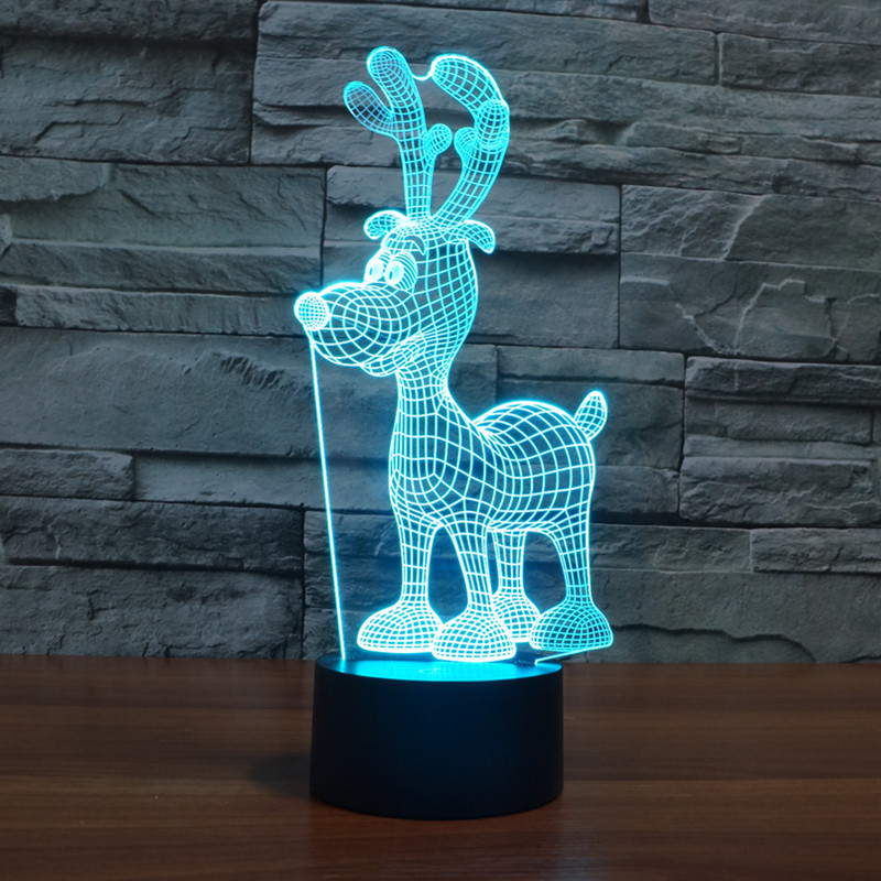 new Christmas deer 3D light colorful touch LED visual gifts celebration lamp lamp
