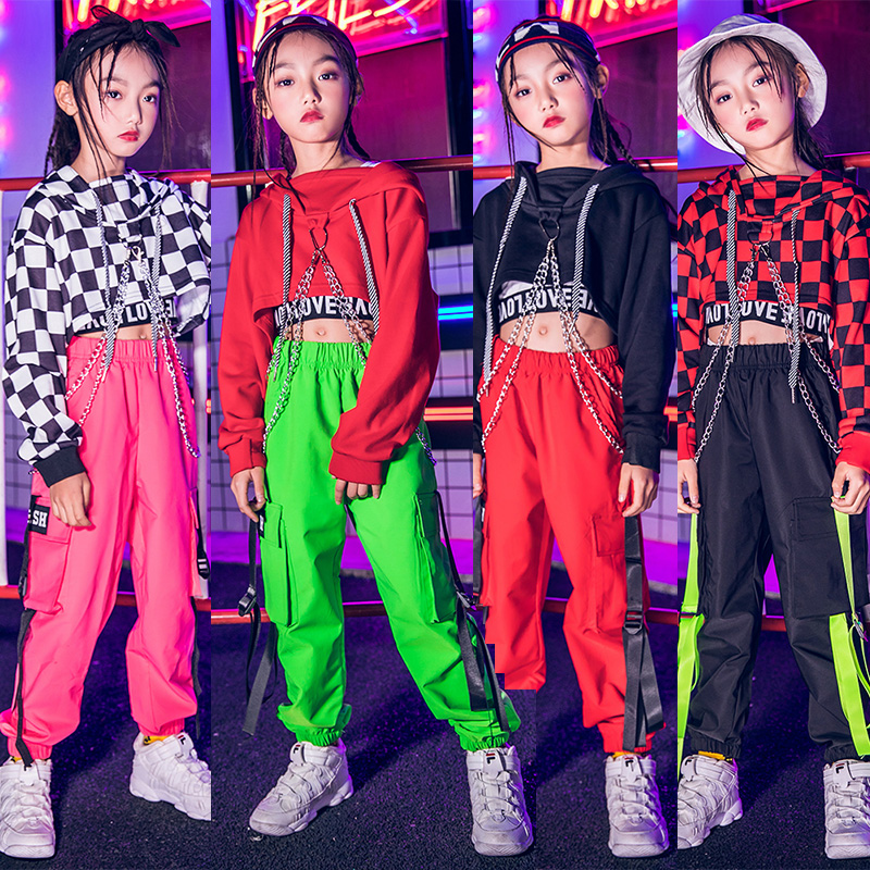 Jazz Dance Costumes For Girls Plaid Tops Pants Children Hip Hop Costume Kids Street Dance Clothes Street Perform Wear DWY1022