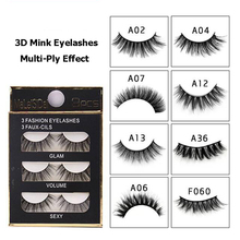 лучшая цена 3pairs 1box Multi-Layer Stereo 3D Mink Eyelashes Handmade Crisscross Mink Fake Lashes Plastic Cotton Stalk Curling False Eyelash