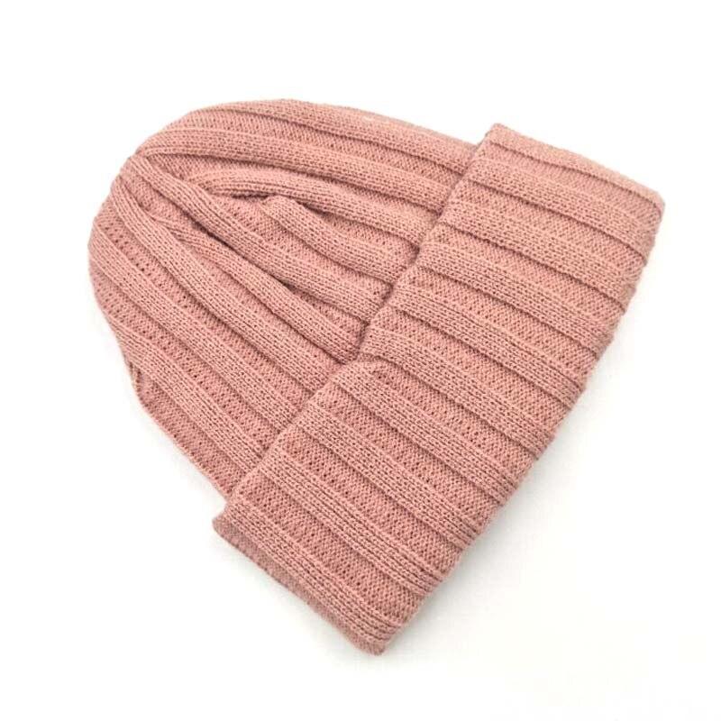 Hats Beanies Pompom Knitted-Caps Korean Autumn Candy-Color Girl Kids Children Brand Stripe