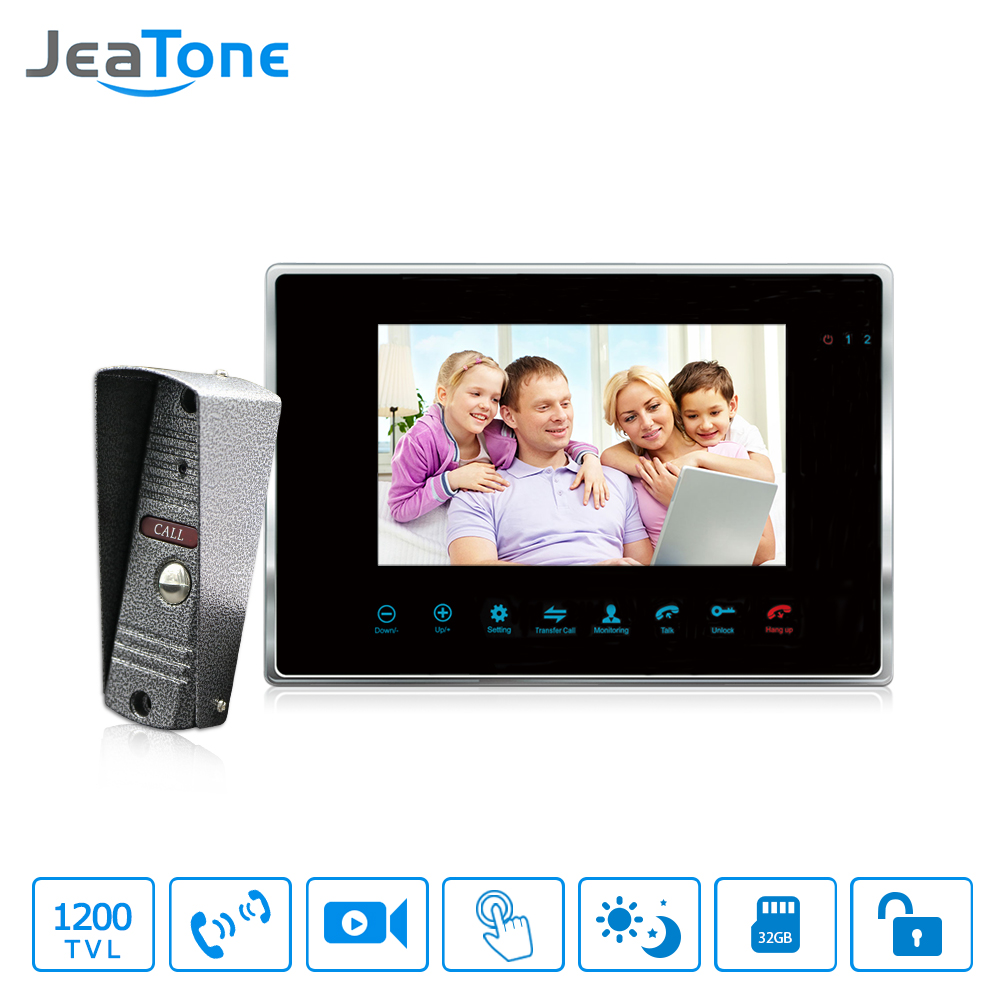 JeaTone 7'' Wired Video Door Phone Intercom 1200TVL Dual-way Remote Unlocking Night Vision Home Security Intercom System etiger xsl v43d11 id 4 3inch home security video door phone rf id unlocking work with electronic door intercom system