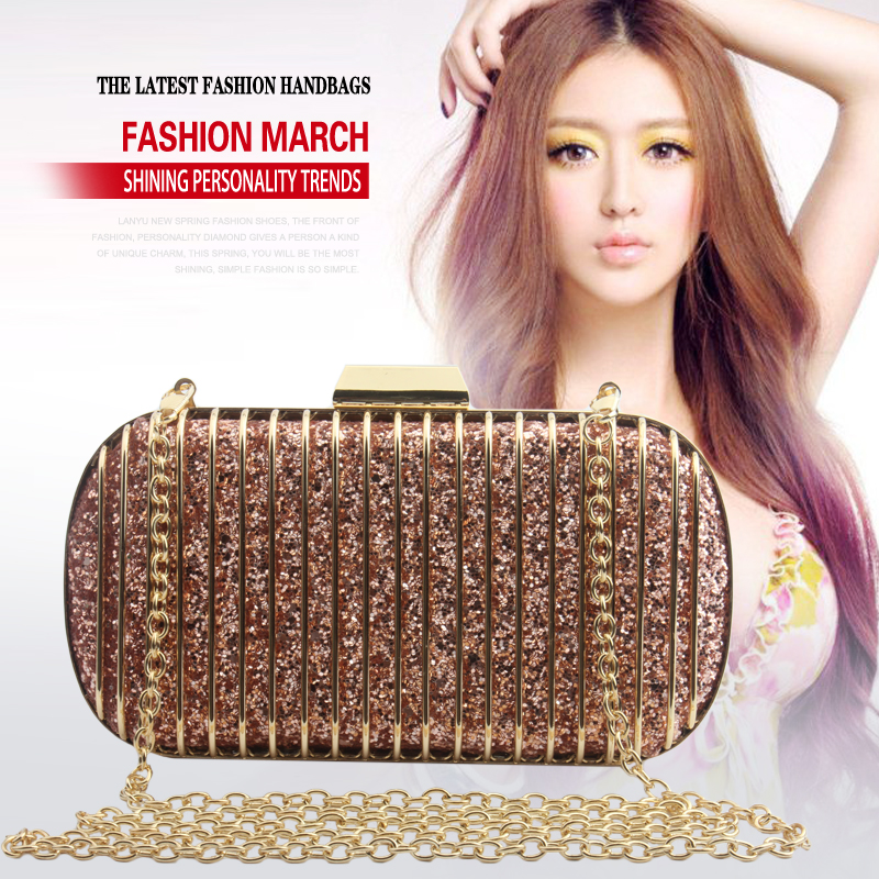 Women Clutch Evening Bag Camouflage Shiny Wedding Party Fashion Handbags Chain Shoulder Bag Messenger Bags Box Metal Purse Top