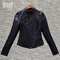 Черный натуральная кожа куртки женщин 100% Овчины куртка мотоцикла тонкий пальто весте ан cuir femme croped jaqueta де couro LT654