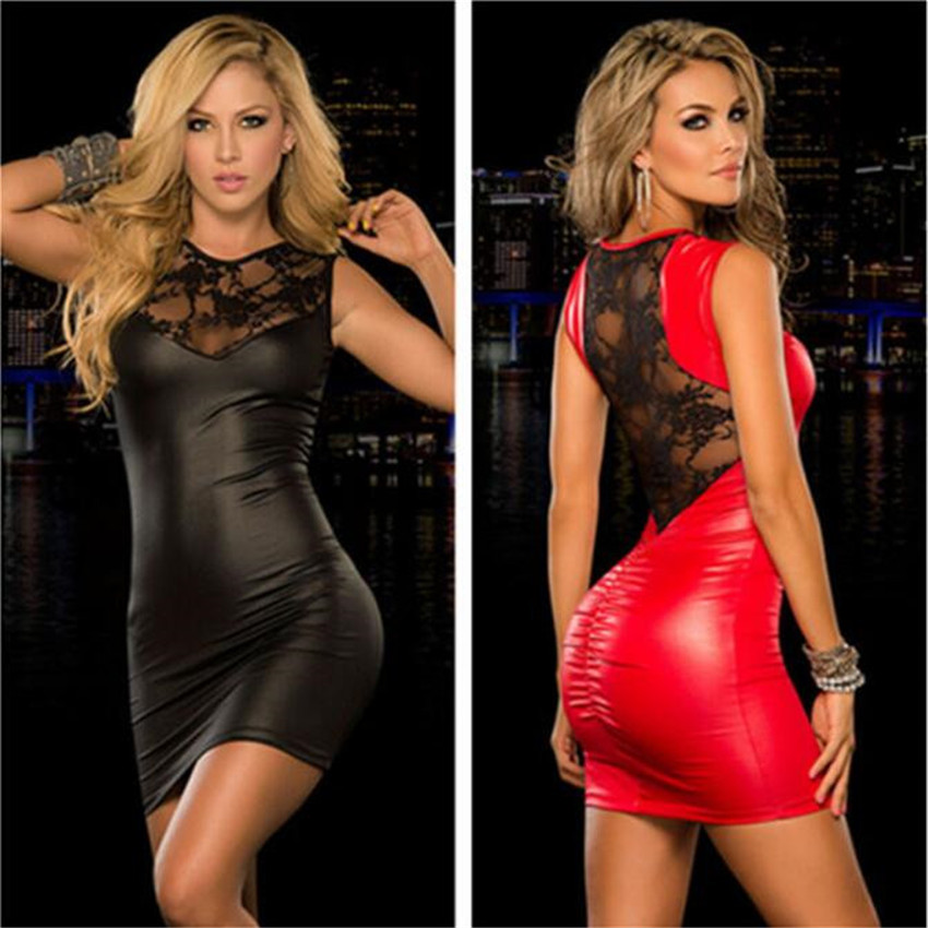 huarache air 2018 sexy Ma 39 am PU Lace Mosaic Backless fold Tight Sleeveless latex catsuit autumn dress vestidos latex bodysuit in Dresses from Women 39 s Clothing