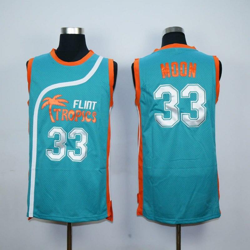 Stich Herren Semi Pro Flint Tropen 33 Jackie Mond Basketball Trikots Weiß Grün S-XXL Freies Verschiffen