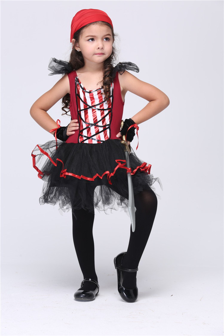 High quality Halloween girl pirate cosplay costumes Kids children party  stage Performance clothing dancing tutu dresses 354c261d6a05