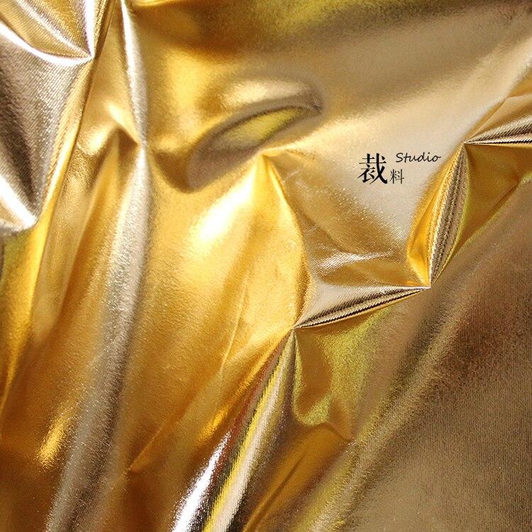 Tpu cuir artificiel doux brillant or miroir tissu extensible pour patchwork bazin riche getzner tissus telas pour métros
