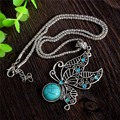 1 Piece Turquoise Stone Beautiful Butterfly Hollow Pendant Jewelry Crystal Jewelry Women Decoration Accessories Necklace