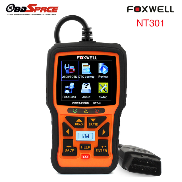 2017 Newest OBD2 Diagnostic Scanner FOXWELL NT301 Multi-language Auto Fault Code Reader Analyzer Car Scanner NT301 Free Shipping