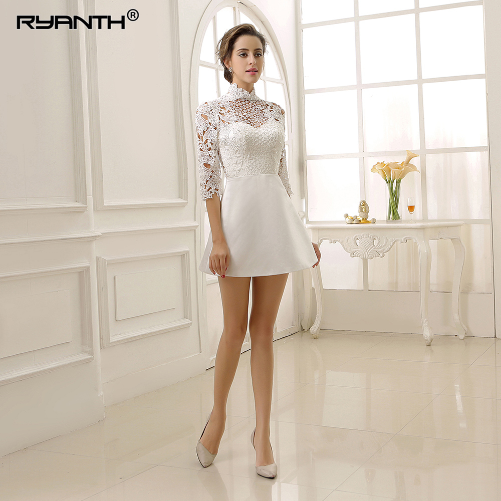 Vestido De Noiva 2019 New Arrival High Neck Lace Stain Short Mini Wedding Dress For Party Custom Made 3/4 Long Sleeves Gowns