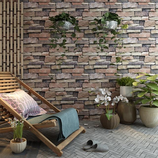 retro 3d stone brick wall wallpaper roll yellow brick decor restaurant background wall covering living room