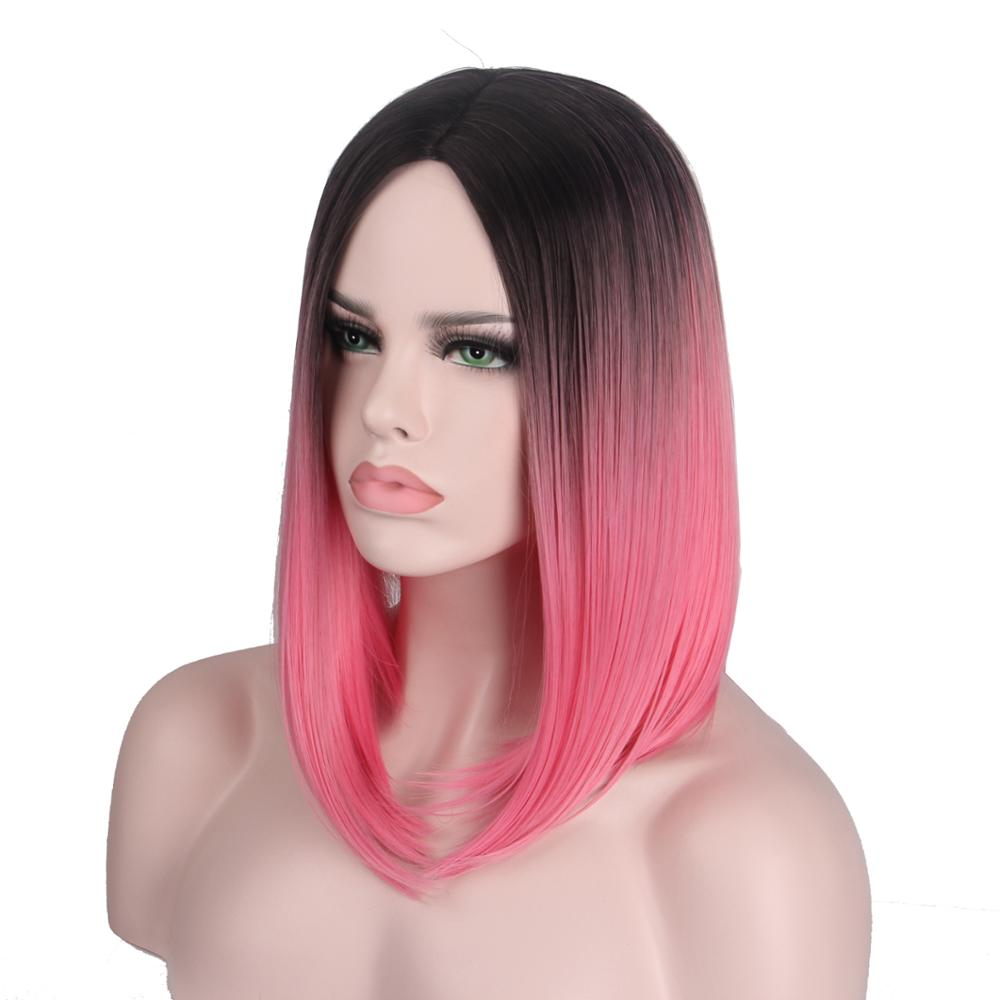 Short Wig Hair Ombre Red Pink Color Wigs For Women Short Bob Wig No Bangs Middle Part Shoulder Length Natural Wave Anxin Black