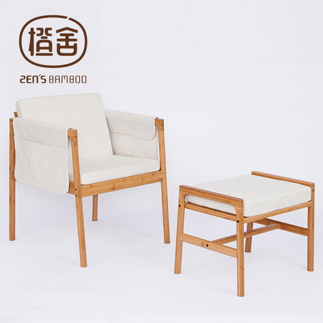 ZENS BAMBOO Sofa Chair Bamboo Armchair Stool Set With Sponge Cushion Hanging Storage Bags Living Room