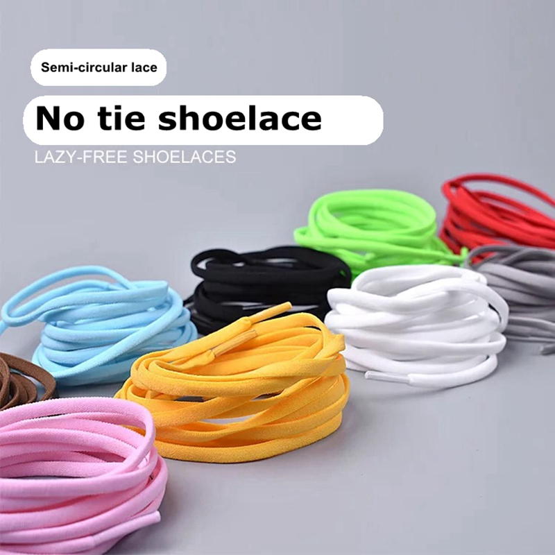 1 Pair No Tie Shoe laces Elastic Shoelaces Fashion Metal Pointed Lazy laces Kids Adult Leisure Sneakers Quick Round Shoe lace in Shoelaces from Shoes