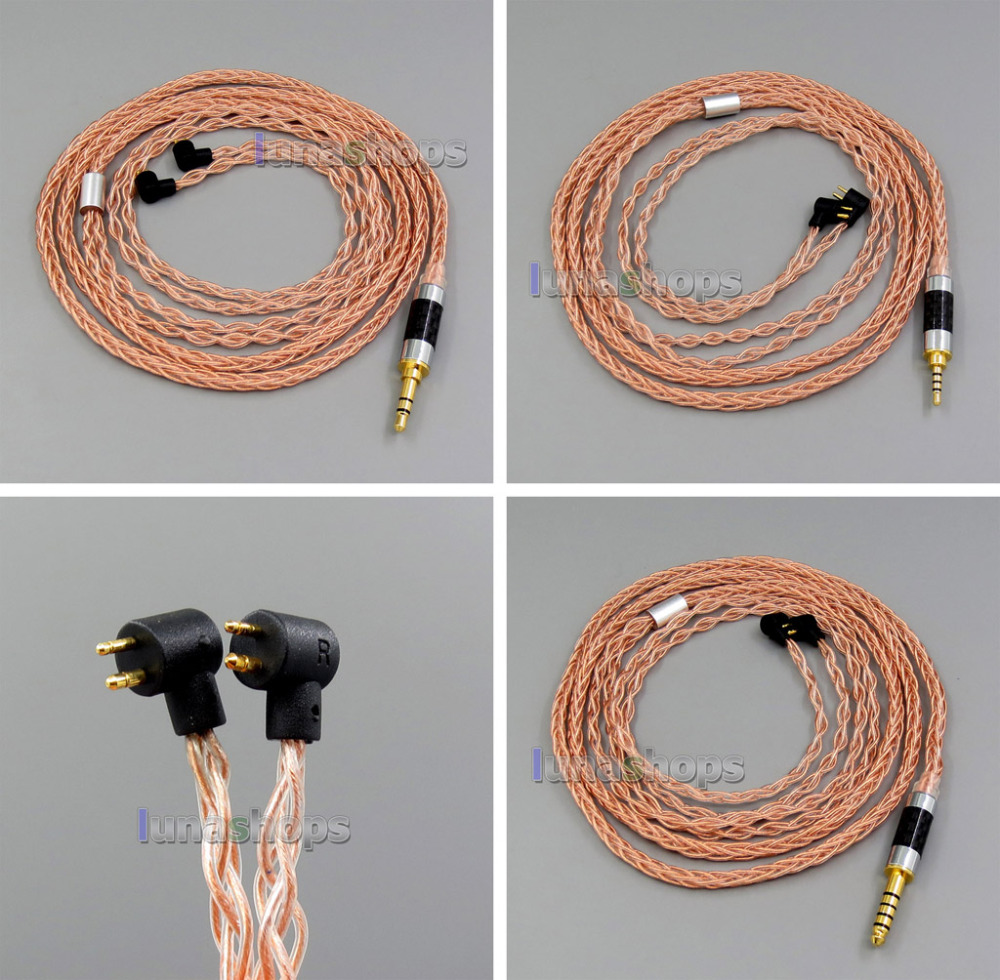 Copper 8 core 2.5mm 4.4mm Balanced MMCX Pure OCC Copper Earphone Cable For Etymotic ER4B ER4PT ER4S ER6I ER4 LN006127 pure pcocc earphone cable pep insulated for etymotic er4b er4pt er4s er6i er4 ln004845