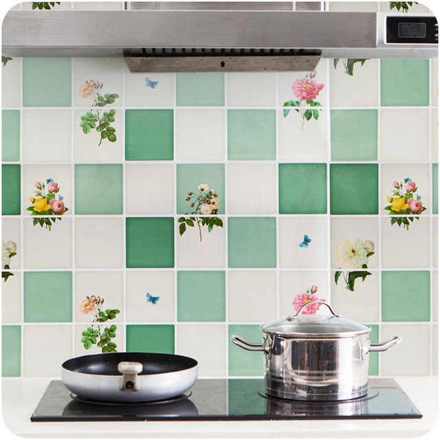 Wallpaper Tiles For Kitchen: Stiker Dapur Anti Minyak