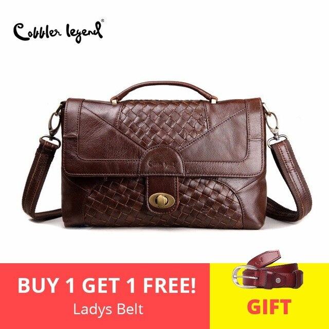 6a39e8b4bafec Cobbler Legend Women Leather Handbags Knitting Satchel Vintage Genuine  Leather Tote Classic Briefcase Designer Handbag Brand
