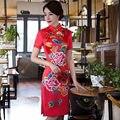 New Arrival Red Women's Satin Mini Cheongsam Fashion Chinese Style Dress Elegant Slim Qipao Vestido Size S M L XL XXL 246118