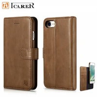 ICARER Wallet Case For iPhone7 8 Genuine Leather Protective For iPhone7Plus 8Plus Flip Card Holder Magnetic Case Detachable 2in1