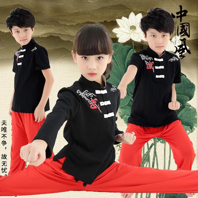 Crianças de Manga Curta Traje Wushu Uniforme de Artes Marciais Kung Fu Terno para Crianças Meninos Meninas Conjunto de Roupas Performance de Palco