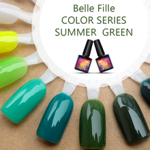 Belle Fille UV Gel Nail Polish Summer Green Series UV Gels Grass Need Top Coat Dry with LED Lamp Green Olive Gel Polish Polish