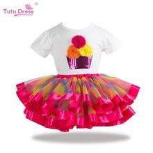TUTUDRESS/детская одежда г. Летний детский комплект одежды для девочек, футболка юбка-пачка спортивный костюм для девочек из 2 предметов комплект одежды для маленьких девочек