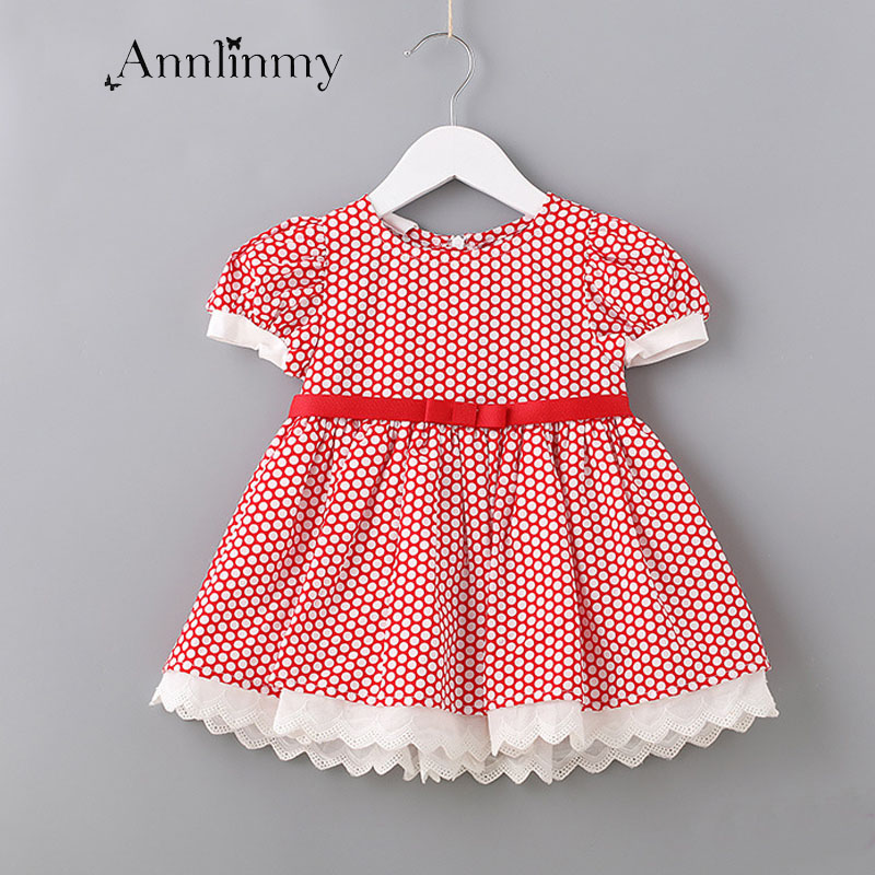 Summer clothes 2018 baby girls dress dot Short sleeve infant dress lovely lace patchwork princess dress for 0-2 age vestido bebe