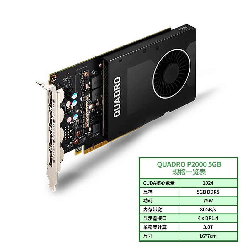 Leadtek NVIDIA Quadro P2000 5GB Professional Graphics  Design 3D Modeling Rendering Graphics Card