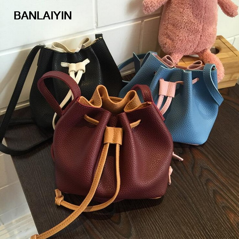 Hit Color Bucket Bag Ladies Crossbody Bags Mini Soft Leather Drawstring Bag Women Handbags Sling Messenger Shoulder Bags