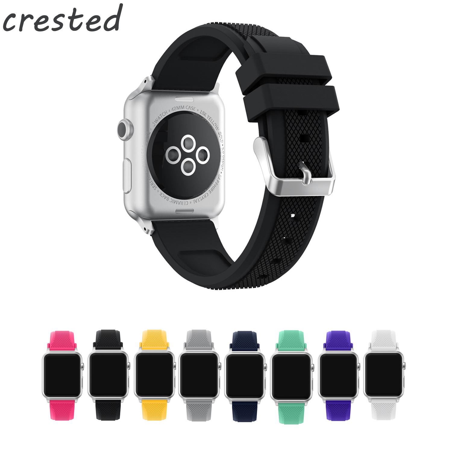 CRESTED sport soft silicone strap for apple watch iwatch 3/2/1 42mm 38mm bracelet watch band Pineapple pattern watch strap crested sport band for apple watch 42mm 38mm bracelet strap iwatch nike 3 2 1 breathabe wrist watchband rubber watch band strap
