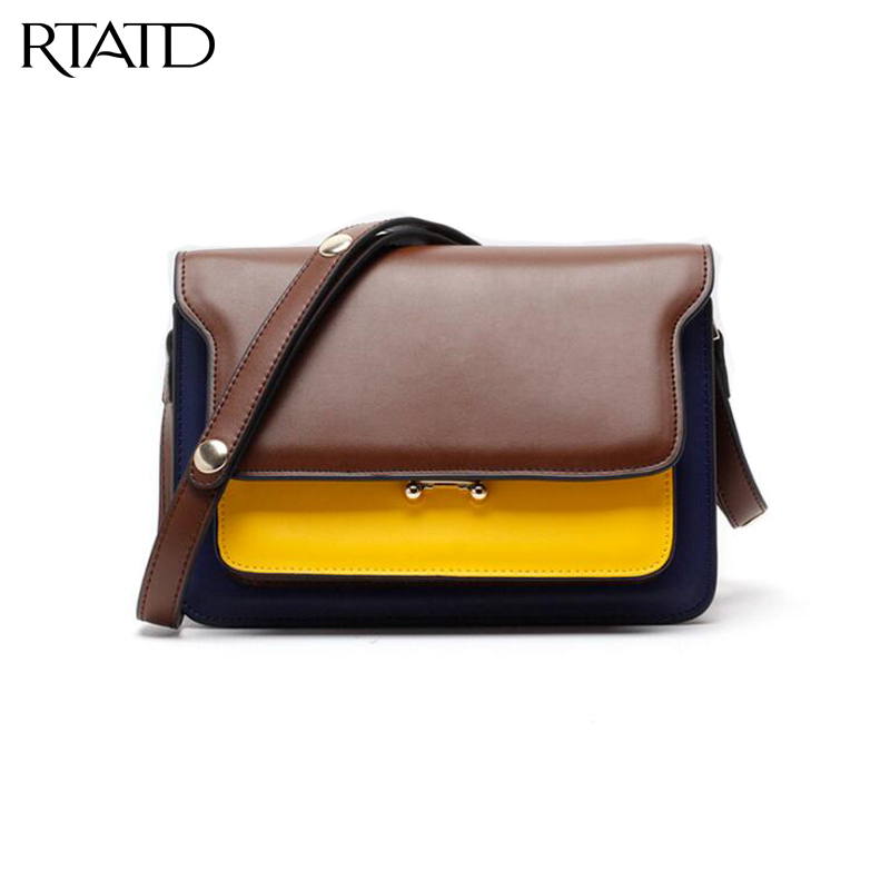 RTATD New Genuine Leather Women Trunker bags buttons belts bags patchwork lady trendy handbags fashion brand design bags B027 strack ph d stephen handbook of interpersonal psychology theory research assessment and therapeutic interventions