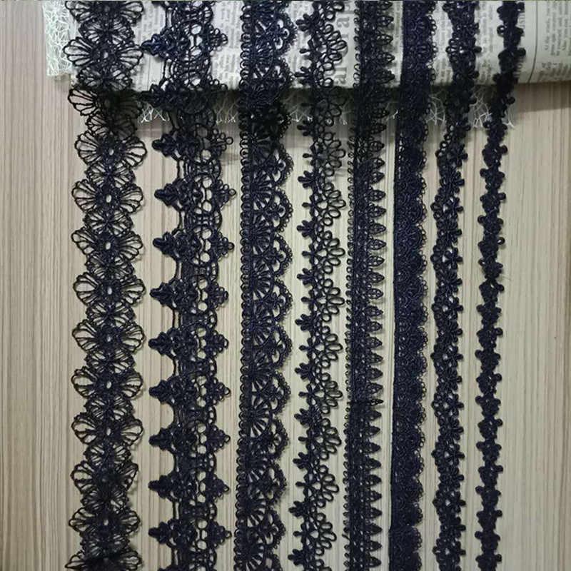 5yards nero Bianco Del Merletto Del Nastro Del Nastro di Larghezza di 1.3 CENTIMETRI-4.6CM Trim Tessuto FAI DA TE Ricamato Cavo di Rete Per decorazione di cucito africano del merletto