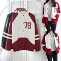 NEW 2016 women brand Harajuku College Wind spell color stitching baseball Jackets women Sweatshirt tops