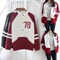 Nuevo 2016 mujeres a estrenar Harajuku viento colegio de costura del color del encanto de béisbol chaquetas sudaderas tops