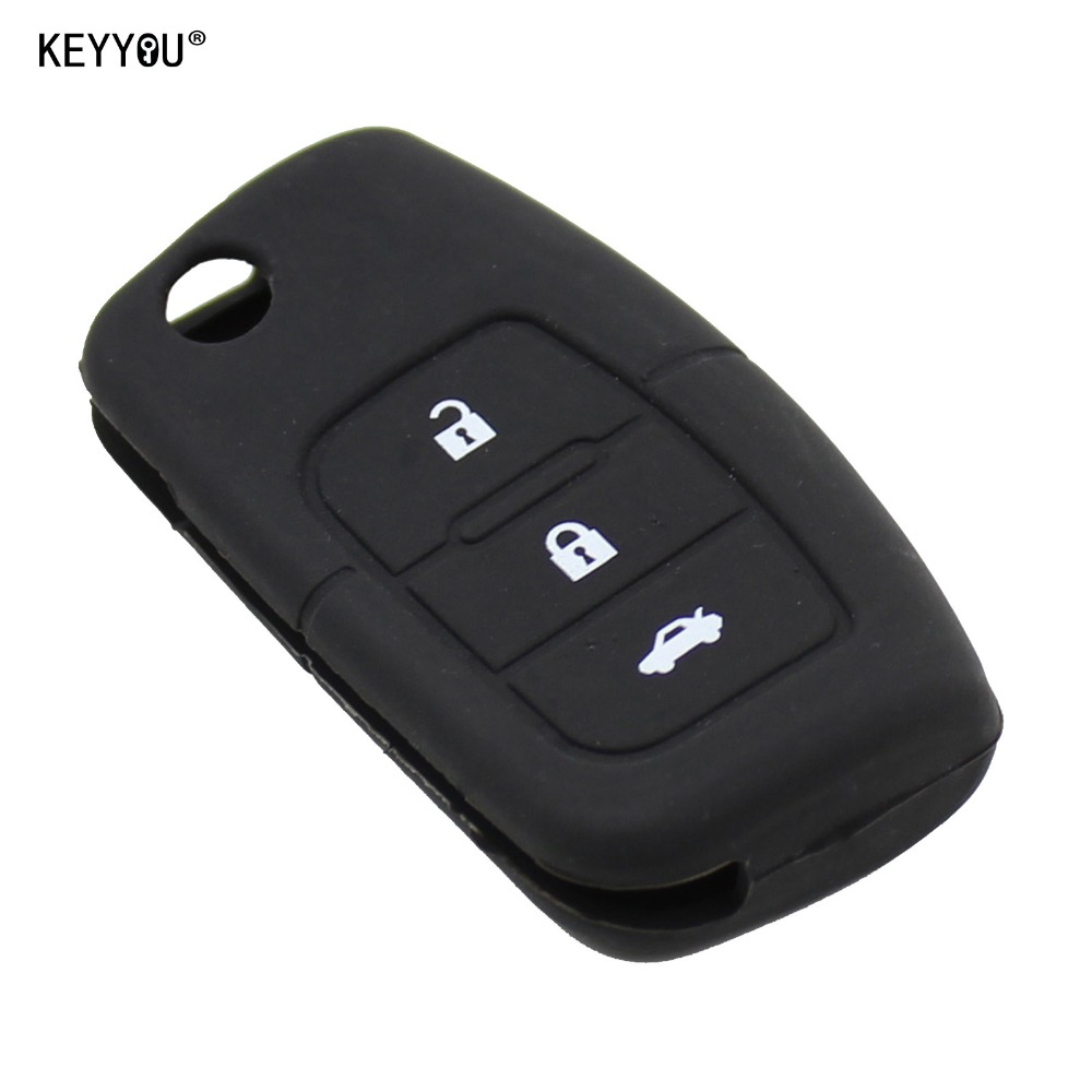 все цены на KEYYOU 3 Button Silicone Car Key Remote Cover Case Shell Fob Fit For Ford Fiesta Focus 2 Ecosport Kuga Escape 3 Buttons Fold Key онлайн