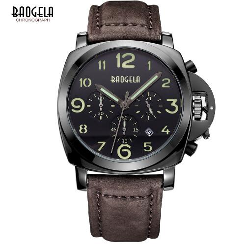 Baogela brand Quartz Watch Men casual Brown Leather Strap Watches Chronograph Reloj Hombre fashion Gift Relogio Masculino 1702 eyki lovers watches simple fashion quartz watch waterproof leather strap men women christmas gift relogio feminino reloj hombre