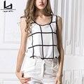 Hui Lin White Plaid Women Tops Round Neck Sleeveless Casual Women Tanks Sweet Style New Design Fashion Plus Size Women Tops