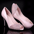 Ladies Cheap Plus sizes(4-15)New Luxury Sexy Rhinestone Peep-toe genuine leather Thin high heels shoes Women pumps party wedding