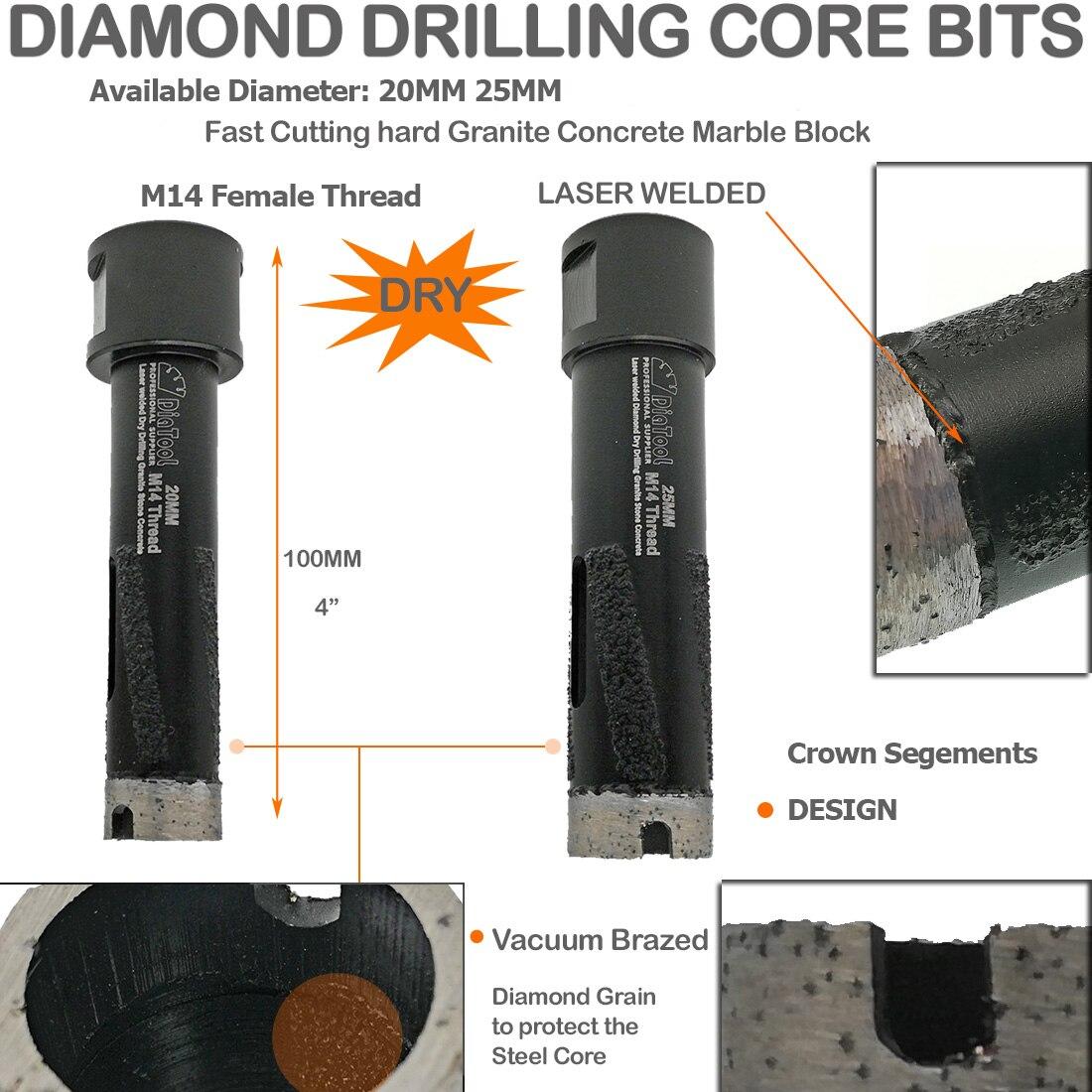 No.6 DIATOOL Peu de Routeur de Diamant Soud/é par Vide 1pc avec la Jambe de 1//2 pour le Routeur en Pierre de Granit Marble