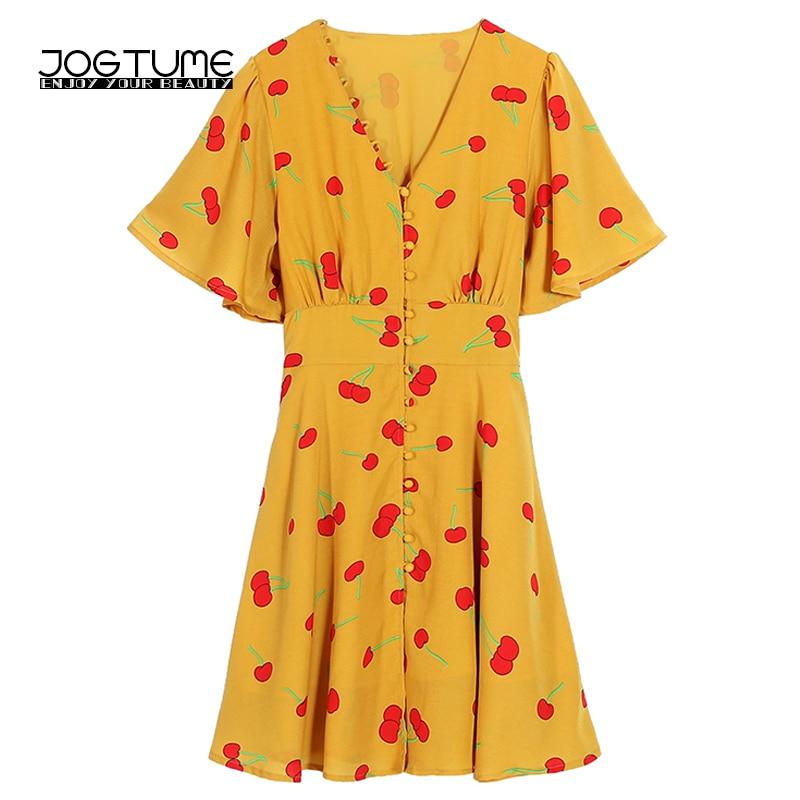Summer Vintage Cherry Dress Women Sexy V Neck Print Chiffon Female Party Dress Yellow Loose Elegant Plus Size Dresses Feminine