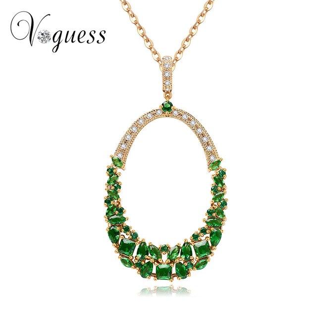 aea2d54386f5 VOGUESS verde azul blanco rojo Zircon collar de cristal de la moda perlas