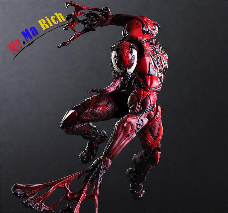 Play Arts Kai Marvel Spider Man Red Venom Action Figure Variant Model Toy Doll spiderman action figure play arts kai spider man 250mm evil version anime superhero playarts spider man model toy