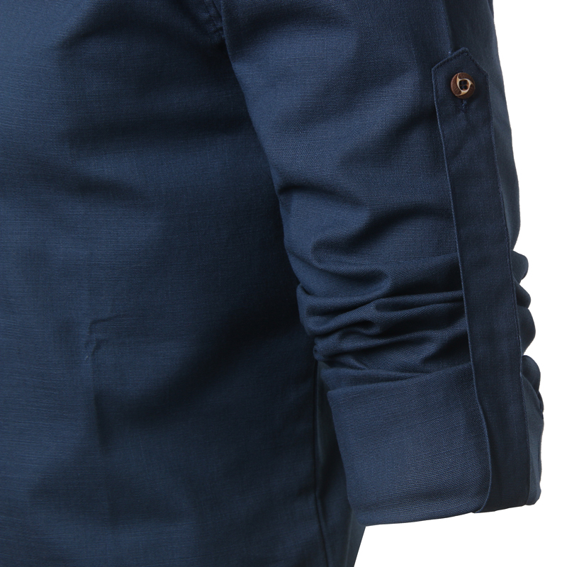 Tunique col Mao bleu marine, manches longues, avec poche, zoom
