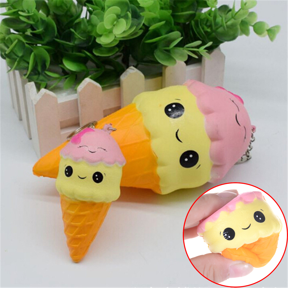1018cm Cartoon Double Smile Face Ice Cream Squishy Slow Rising Sweet Scented Charms Food Rebound Bread Kid Toys