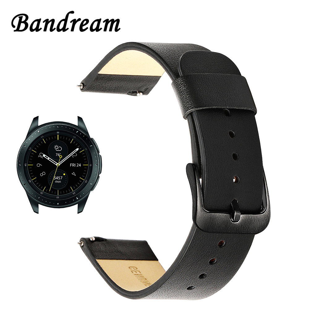 20mm Genuine Leather Watchband for Samsung Galaxy Watch 42mm SM,R810 Quick  Release Band Steel Clasp Strap