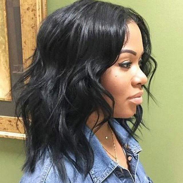 Black Women Medium Length Hairstyle Wet And Wavy Brazilian Virgin Hair Lace Front Wigs