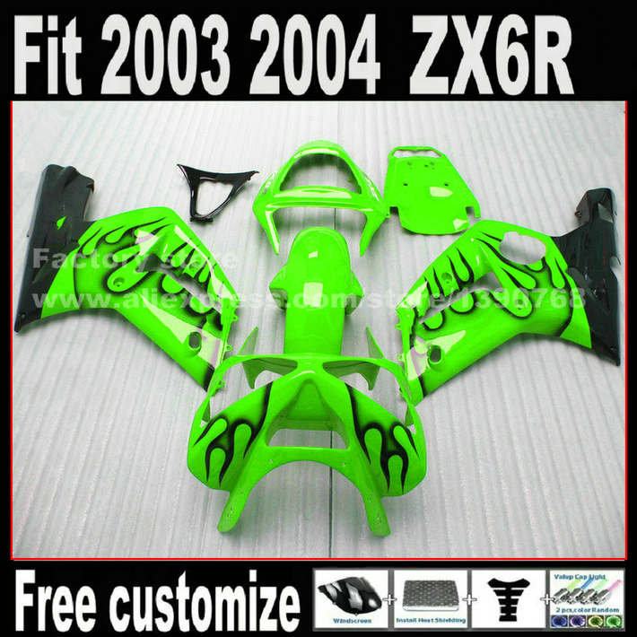 Customize Motorcycle parts fairing kit for 2003 2004 Kawasaki ZX6R Ninja 636 black flames in green  03 04 ZX 6R Fairings set DG2 motorcycle fairing kit for kawasaki ninja zx10r 2006 2007 zx10r 06 07 zx 10r 06 07 west white black fairings set 7 gifts kd01