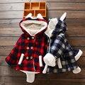 Fluff inverno Outerwear abrigos acolchados ninas trajes nieve bebes casaco crianças menina dos desenhos animados Com Capuz polares casacos xadrez KD022