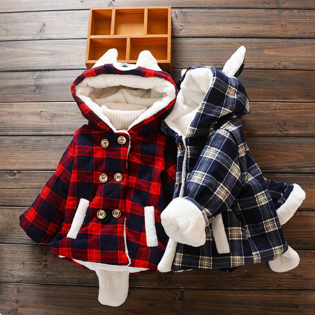 Winter fluff Outerwear abrigos acolchados ninas trajes nieve bebes cartoon Hooded fleeces coat toddlers girl plaid coats KD022